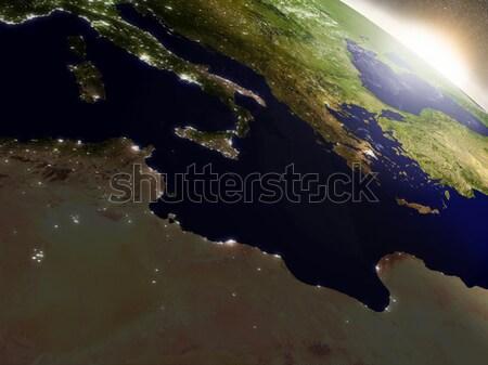 Gündoğumu Tunus bölge yörünge uzay 3d illustration Stok fotoğraf © Harlekino