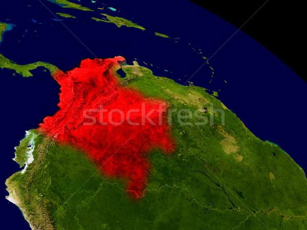 コロンビア スペース 赤 3次元の図 詳しい ストックフォト © Harlekino