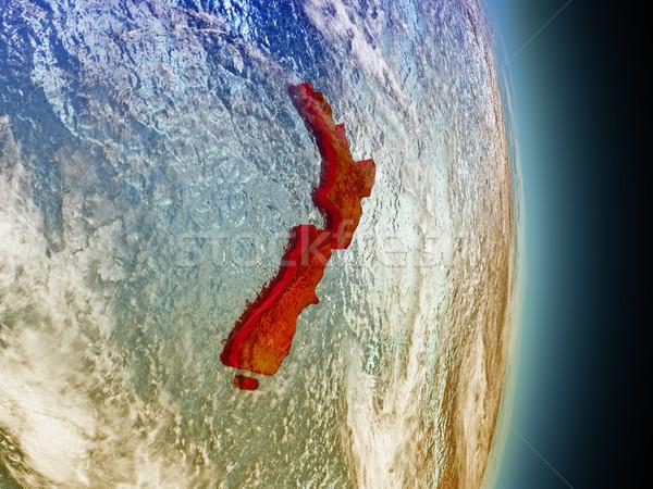 Nowa Zelandia czerwony przestrzeni model orbita 3d ilustracji Zdjęcia stock © Harlekino