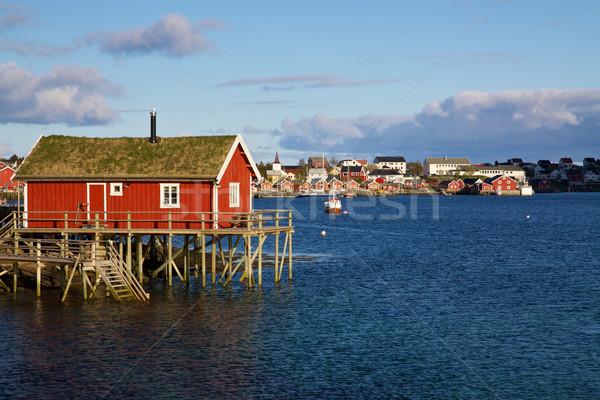 Fishing house on Lofoten Stock photo © Harlekino