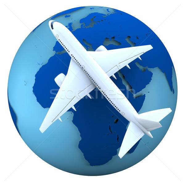 Воздушные путешествия концепция Flying самолета модель земле Сток-фото © Harlekino