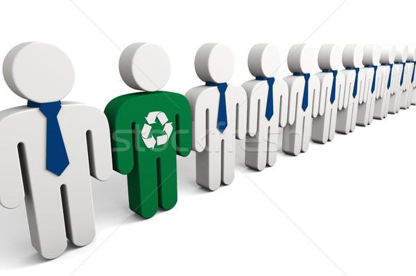 Eco myślenia aktywista ilustracja zielone osoby Zdjęcia stock © Harlekino