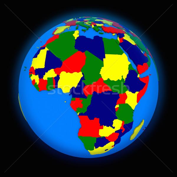 アフリカ 政治的 地球 世界中 黒 地図 ストックフォト © Harlekino
