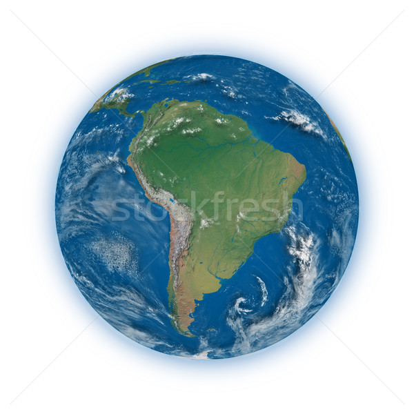 Güney amerika dünya gezegeni mavi yalıtılmış beyaz Stok fotoğraf © Harlekino
