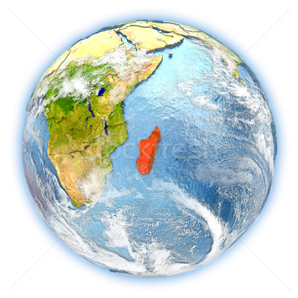 Madagascar aarde geïsoleerd Rood aarde 3d illustration Stockfoto © Harlekino