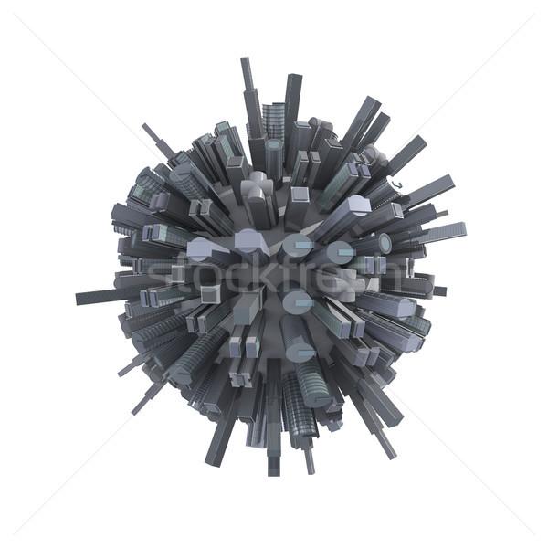 Cidade planeta arranha-céus em torno de isolado Foto stock © Harlekino