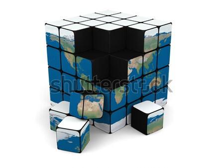 Terra cubo planeta terra isolado branco Foto stock © Harlekino