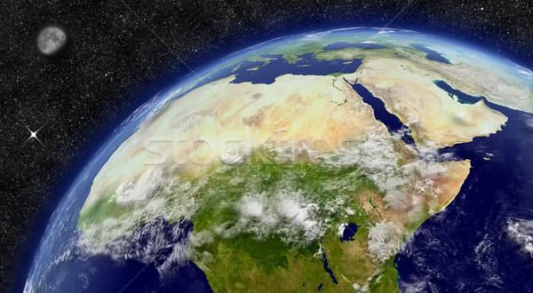 Kuzey Afrika dünya gezegeni bölge uzay ay Stok fotoğraf © Harlekino