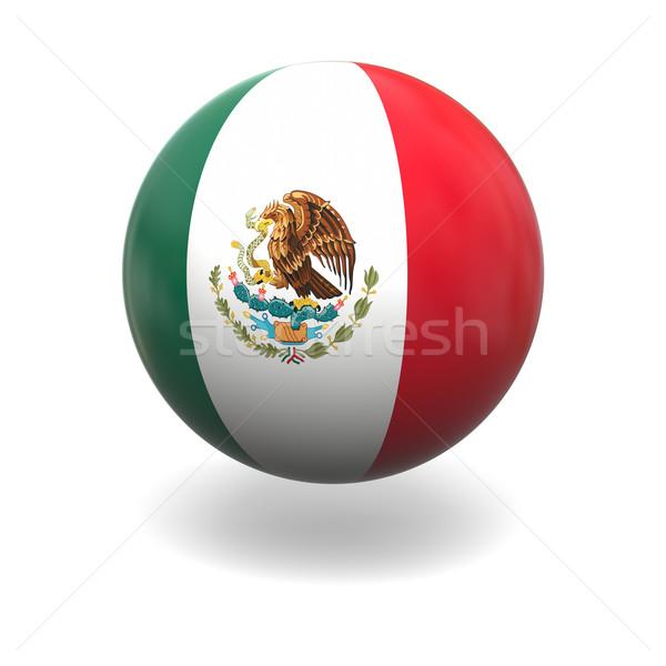 Сток-фото: мексиканских · флаг · Мексика · сфере · изолированный · белый