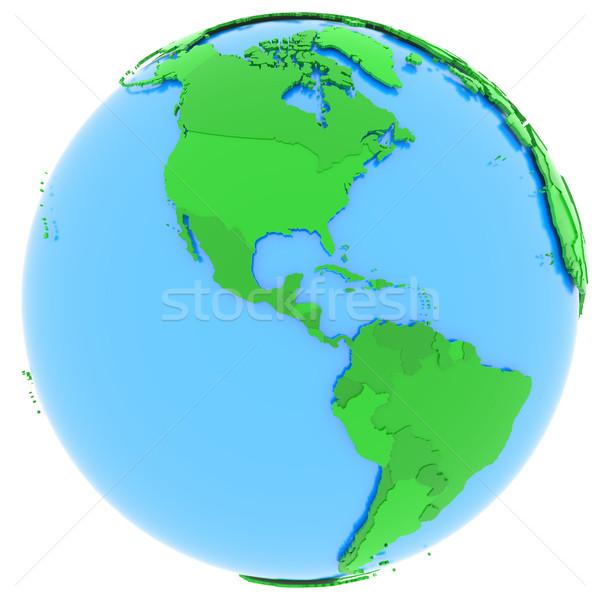 Norte américa del sur tierra político mapa mundo Foto stock © Harlekino