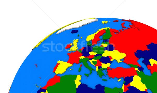 Európa Föld politikai térkép földgömb utazás Stock fotó © Harlekino
