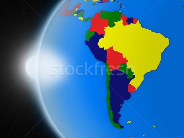 Zonsondergang continent ruimte aarde politiek Stockfoto © Harlekino