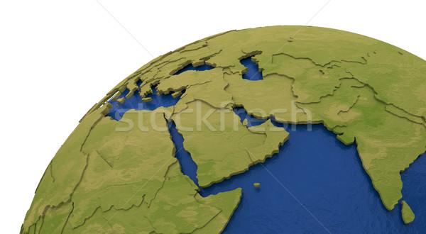 Midden oosten regio aarde gedetailleerd model aarde Stockfoto © Harlekino