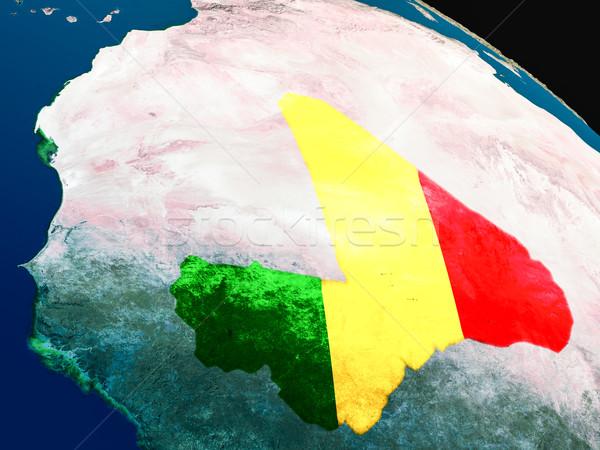 флаг Мали пространстве орбита 3d иллюстрации Сток-фото © Harlekino