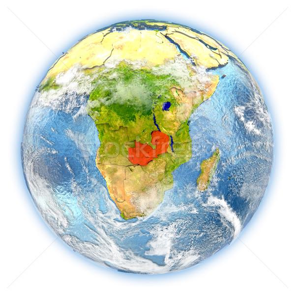 Замбия земле изолированный красный планете Земля 3d иллюстрации Сток-фото © Harlekino