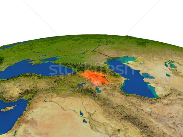 Armenia in red from orbit Stock photo © Harlekino
