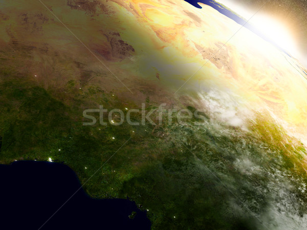 Niger and Nigeria from space during sunrise Stock photo © Harlekino