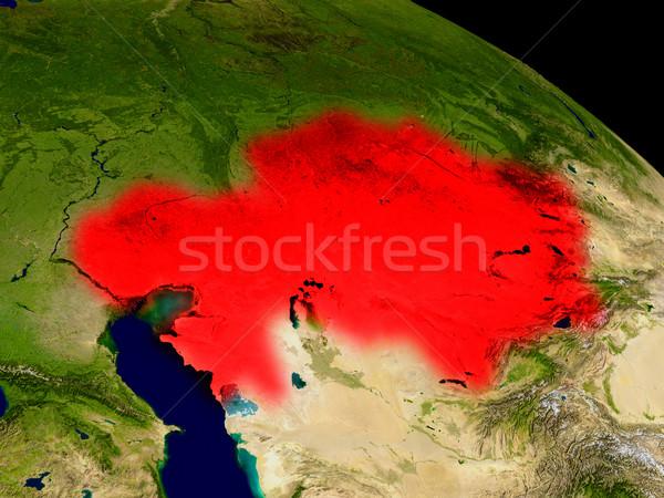Kasachstan Raum rot 3D-Darstellung sehr detaillierte Stock foto © Harlekino