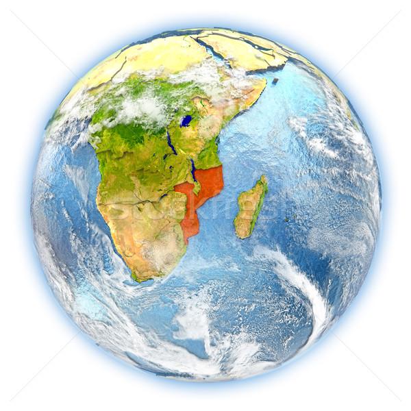 Moçambique terra isolado vermelho planeta terra ilustração 3d Foto stock © Harlekino