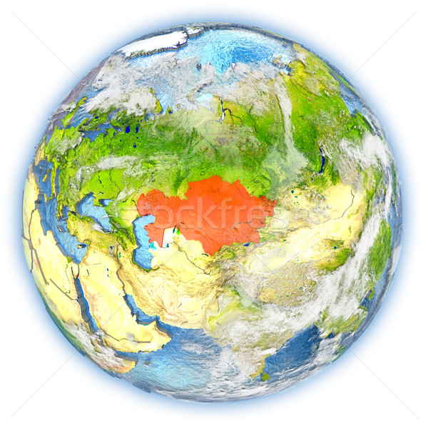 Казахстан земле изолированный красный планете Земля 3d иллюстрации Сток-фото © Harlekino