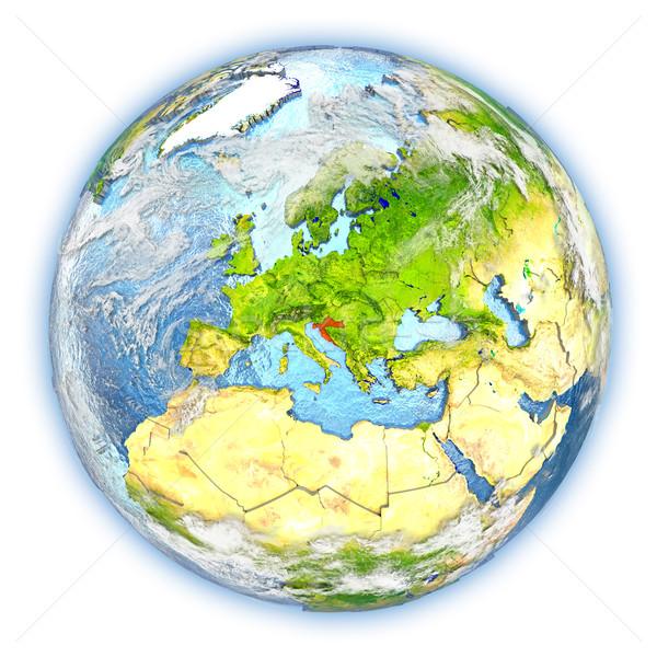 Croácia terra isolado vermelho planeta terra ilustração 3d Foto stock © Harlekino