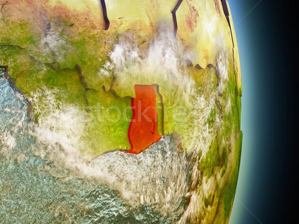 Гана красный пространстве модель орбита 3d иллюстрации Сток-фото © Harlekino