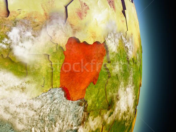 Nigeria in red from space Stock photo © Harlekino