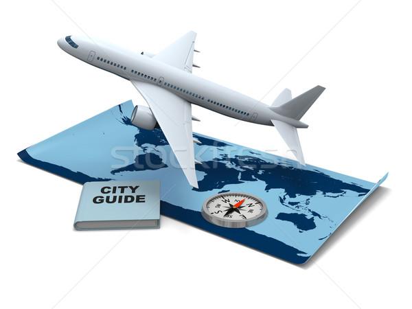 Мир Воздушные путешествия Мир карта самолета компас Сток-фото © Harlekino