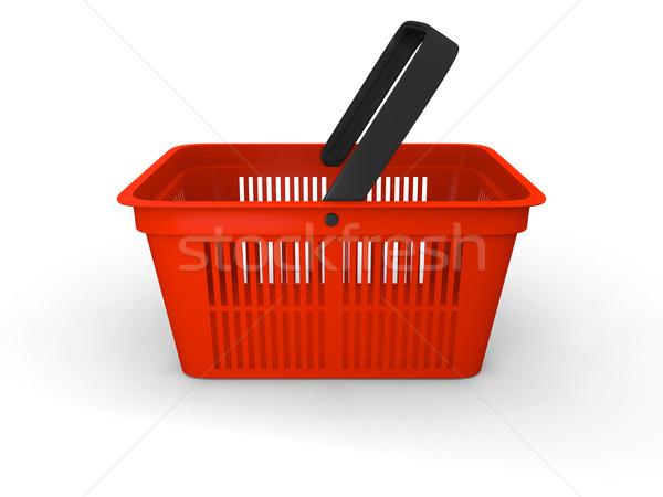 Bevásárlókosár 3d illusztráció üres piros műanyag vásárlás Stock fotó © Harlekino