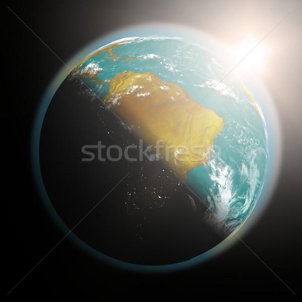 Amanecer américa del sur espacio vista sol Foto stock © Harlekino