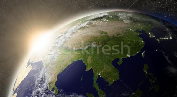 Stock fotó: Nap · Ázsia · naplemente · régió · Föld · űr