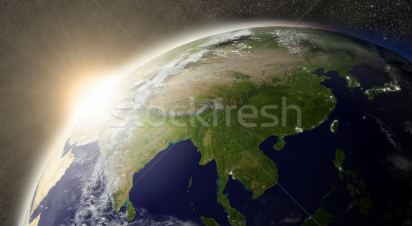 Stock photo: Sun over East Asia
