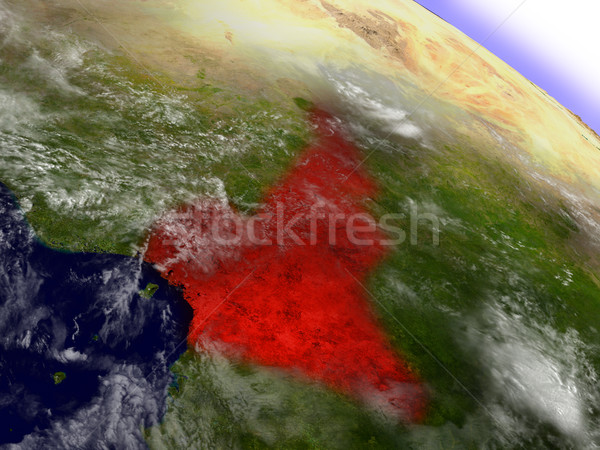 Cameroon from space highlighted in red Stock photo © Harlekino