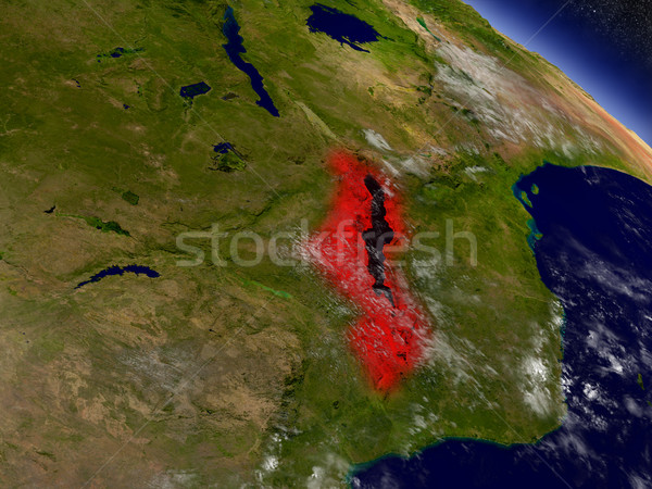 Malawi from space highlighted in red Stock photo © Harlekino