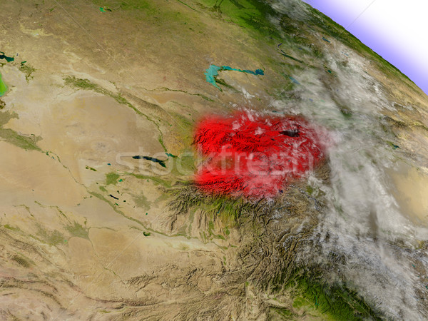 Kirgizië ruimte Rood 3d illustration Stockfoto © Harlekino