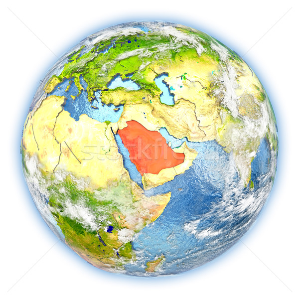 Szaúd-Arábia Föld izolált piros Föld 3d illusztráció Stock fotó © Harlekino