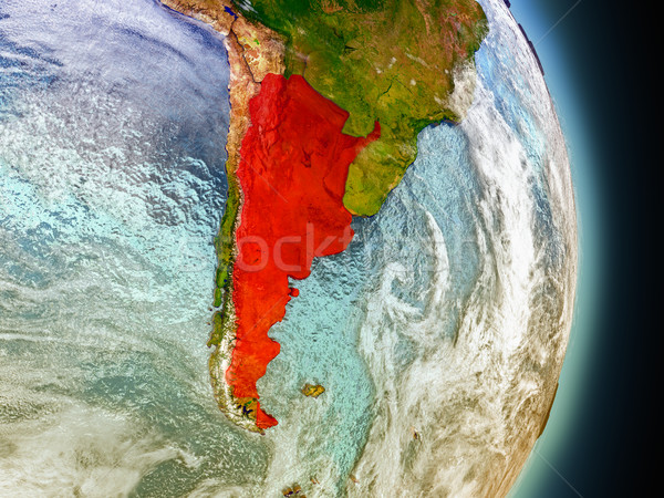 Argentina in red from space Stock photo © Harlekino