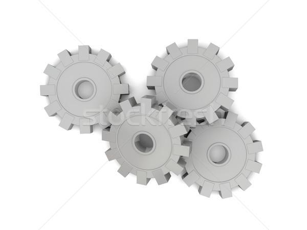 Zahnräder Stahl isoliert weiß Technologie industriellen Stock foto © Harlekino