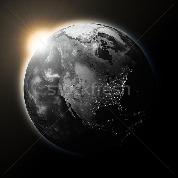 Sun over North America on dark planet Earth Stock photo © Harlekino