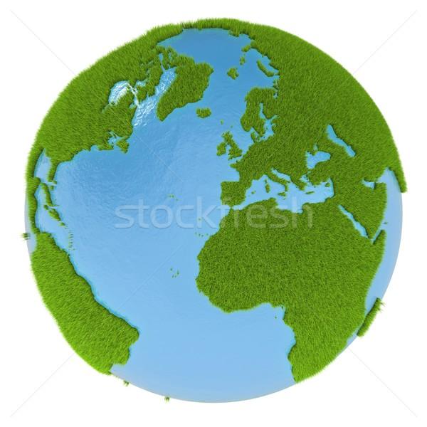 Zielone planety kontynenty pokryty trawy odizolowany Zdjęcia stock © Harlekino