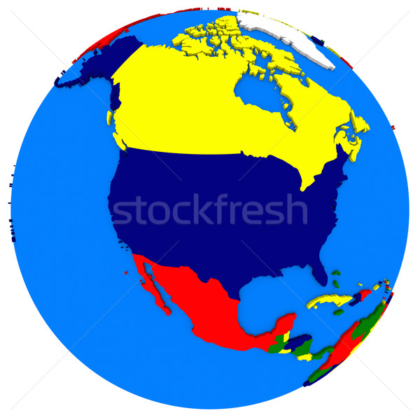 north America on Earth political map Stock photo © Harlekino