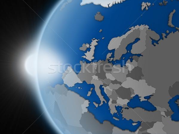 Tramonto continente spazio pianeta terra politico Foto d'archivio © Harlekino