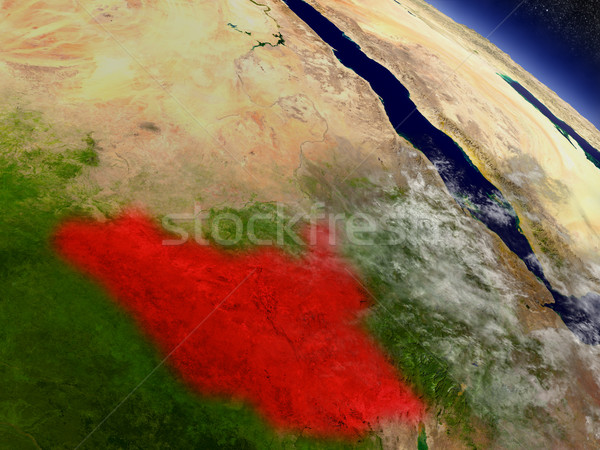 South Sudan from space highlighted in red Stock photo © Harlekino