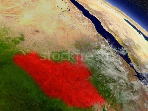 Dél Szudán űr piros pálya 3d illusztráció Stock fotó © Harlekino