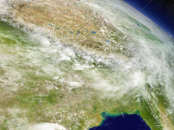 Nepal and Bhutan from space Stock photo © Harlekino