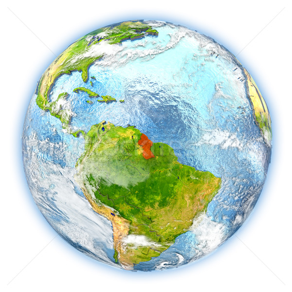 Guyana terra isolato rosso pianeta terra illustrazione 3d Foto d'archivio © Harlekino