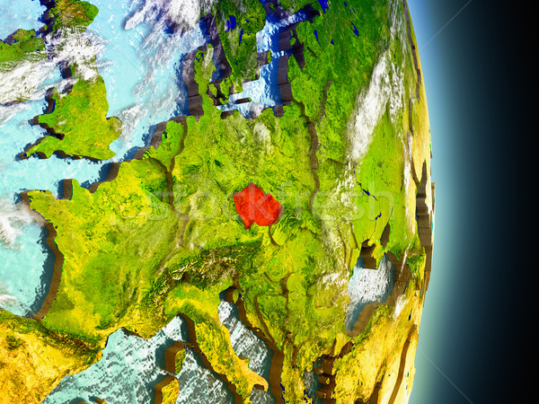 Czech republic in red from space Stock photo © Harlekino