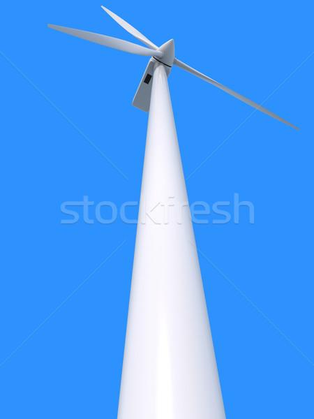 Wind macht generator Blauw elektriciteit schone Stockfoto © Harlekino