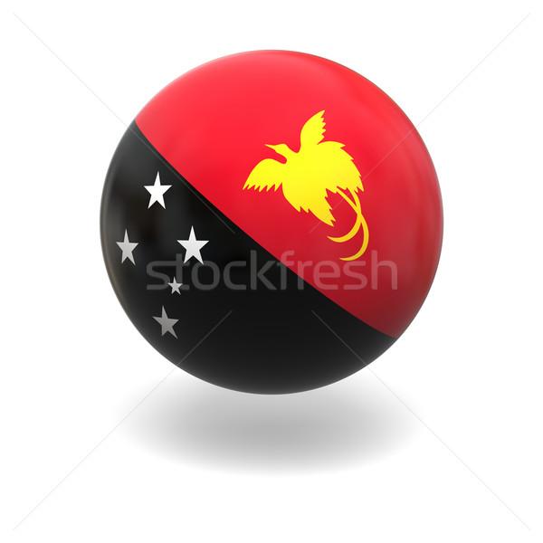 Папуа-Новая Гвинея флаг сфере изолированный белый графика Сток-фото © Harlekino