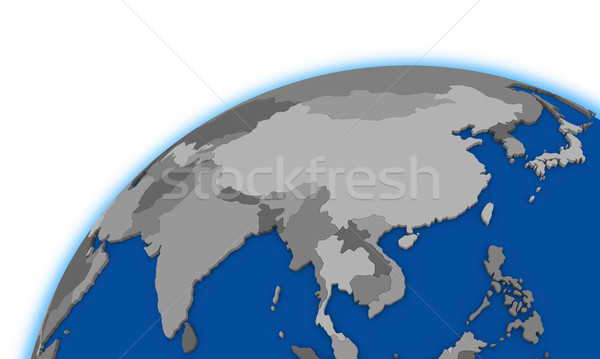 Political Map Of Southeast Asia.Southeast Asia On Globe Political Map Stock Photo C Tomas Griger